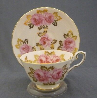 Royal Chelsea England Bone China Pink Roses Gold Leaves Tea Cup & Saucer Duo