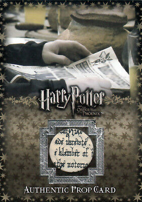 Harry Potter Order of the Phoenix Prop Relic #P3  (046/505) The Daily Prophet