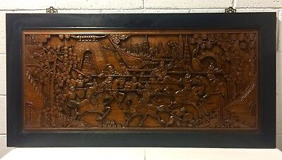 Large carved antique Chinese wood panel Late 1800's