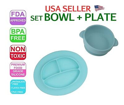 Baby Plate Tray Mat Bowl Set Silicone BPA Free FDA Approved Non Toxic