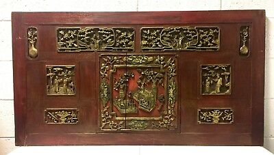 Beautibul Large Red Cinabar And Gold Chinese Wood Carve Panel