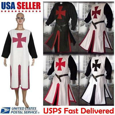 Medieval Templar Knight Crusader Surcoat Tunic Reenactment Costume Party Cosplay