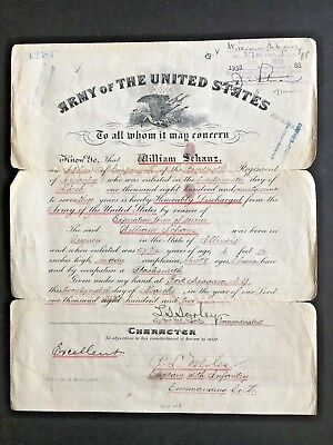 1900s UNITED STATES ARMY DISCHARGE CERTIFICATE - IN CHINA BOXER REBELLION 八国联军