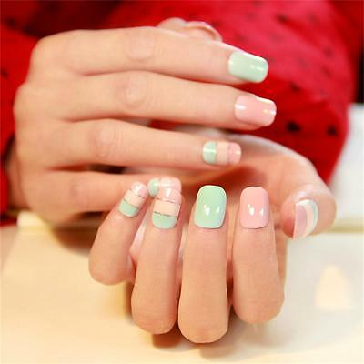 22 PCS Multi-Color Candy  Full Nail Tips Short Oval Smooth Texture False Nails