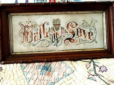 Antique Victorian Paper Punch Motto Walk in Love with Walnut Frame