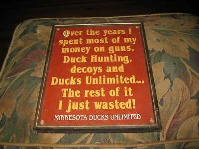 Vintage Ducks Unlimited Hunting Sign Solid Wood Hunting Decoy