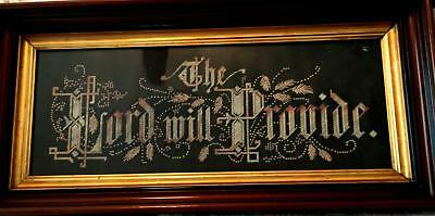 "Beautiful Antique Victorian Paper Punch "" The Lord will Provide"" Walnut  frame"