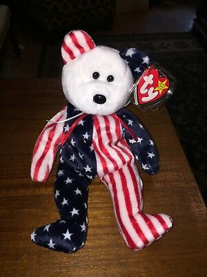 Ty Beanie Baby *1999 Spangle White Face* Rare, Swingtag Error, Authentic