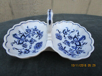 Vintage Blue Danube~ Double Shell Dish~ Blue Onion Banner Marking