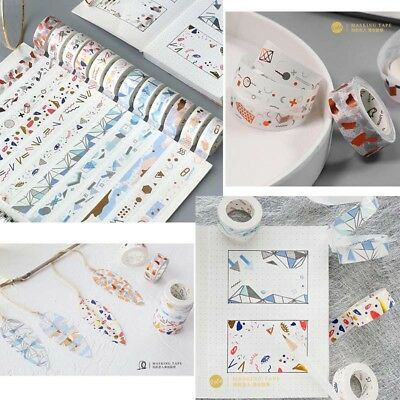 Gold Silver Foil Washi Paper Masking Tape Stamping Scrapbooking DIY Decorative