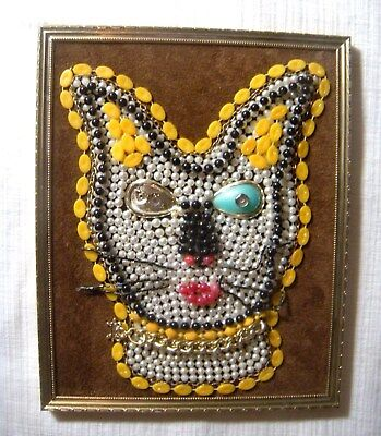 cat face vintage costume jewelry framed art