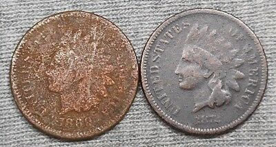 Lot Of 2 Lower Grade Indian Head Cents - 1869 & 1872