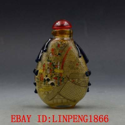 Antique Chinese Glass Internal Hand-painted People Landscape Snuff Bottles L16