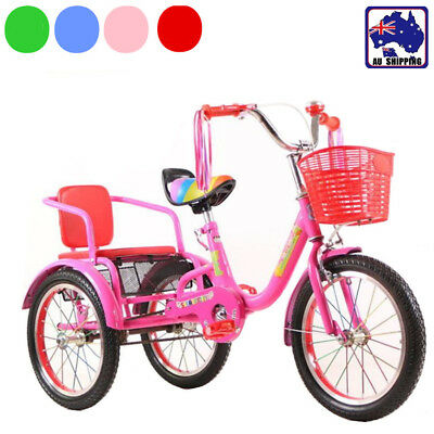 Kids Tandem Push Tricycle Trike Bike Toddler Ride on Toy 3 Wheels Red  BBI0019