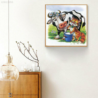 9DE9 Shining Embroidery Diamond Painting Cow Living Room Craft Full Drill