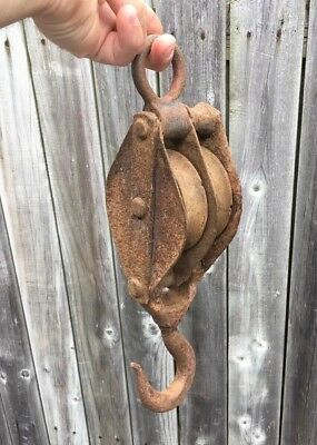 Antique Large Rusty Cast Iron & Steel 2 Wheel Pulley with Hook,Barn,Farm Decor
