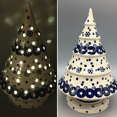 Boleslawiec Polish Pottery Christmas Tree Luminary Tealight Holder Snowflake NEW