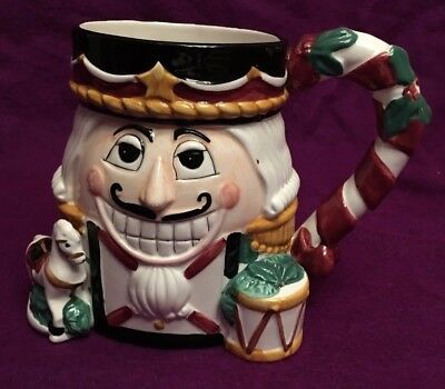 Nutcracker Christmas Cup Mug Porcelain Tis The Season CIC 3D Figural Holiday Vtg