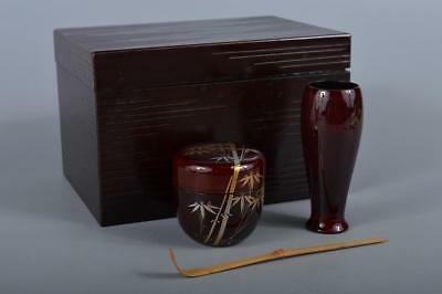 R5112: Japanese Wooden Lacquer ware TEA CEREMONY BOX Chabako, Tea caddy Spoon
