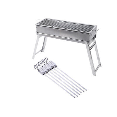 Foldable Outdoor BBQ Barbecue Grill Charcoal Picnic Camping &6 Pcs Skewer