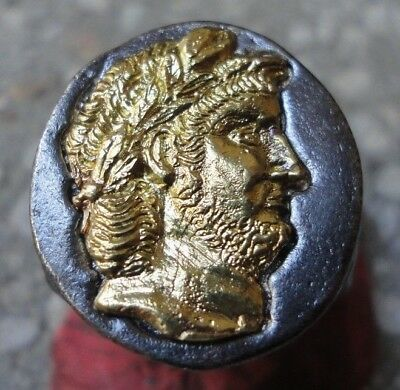 Ancient Roman Senatorial SOLID GOLD Silver ring emperor NERO CAESAR HUGE HEAVY