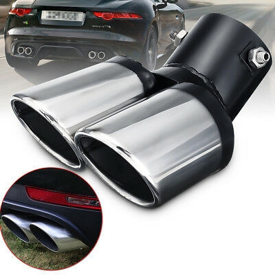 62mm Inlet Dual Outlet Universal Car Rear Muffler Tail Exhaust Tip Pipe Black