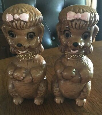 """Rare Vintage 1970's Poodle Dog Salt & Pepper Shakers, Xtra Large 7""""tall , Cute!"""