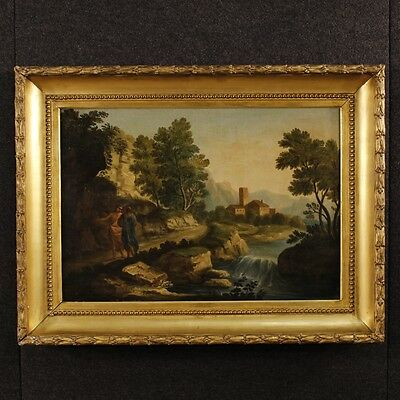 Antique painting paesaggio characters oil on canvas frame 700 eighteenth century