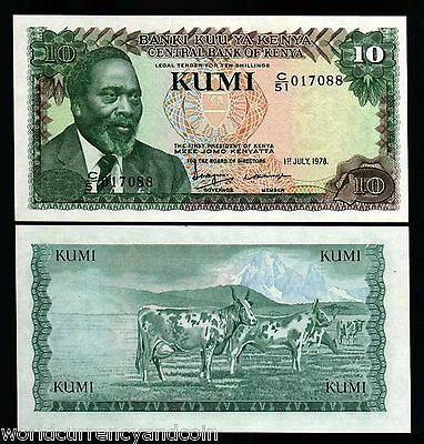 Kenya 10 Shillings P16 1978 Lion Kenyatta Cattle Unc Animal Currency Bank Note