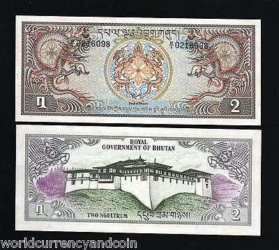 BHUTAN 2 NGULTRUM P6 1981 X 10 Pcs Lot Bundle DRAGON UNC PALACE LARGE MONEY NOTE
