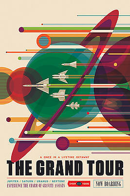 NASA The Grand Tour Space Tourism Travel Poster Voyager JPL Large Wall Art Print