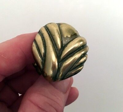 Vintage Classic Solid Brass Cabinet Drawer KNOB Pull Scallop Design Gold Tarnish