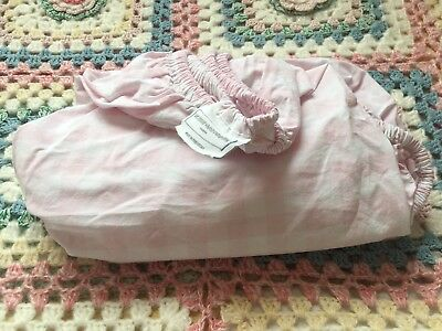 The Little White Company Pink Gingham Fitted Sheet Toddler Cotbed 100% Cotton