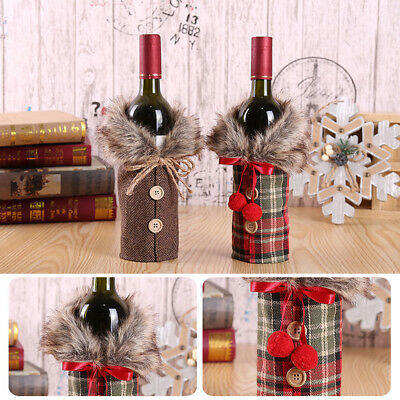 Christmas Wine Bottle Cover Clothes Candy Bag Xmas Santa Grid Home Decor