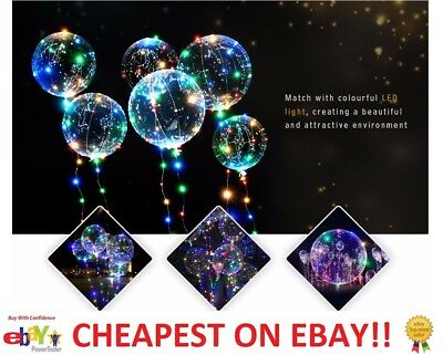 LED Light up - Bobo Balloon Clear Wedding Birthday helium Party Decor Lamp UK