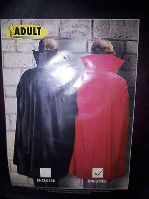 Adult Cape with Collar Red Halloween Fancy Dress Vampire Costume Wizard