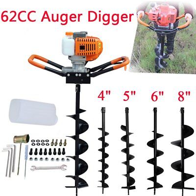 """62CC Gas Powered Earth Auger Power Engine Post Hole Digger 4""""- 8 """"Drill Bit SA"""