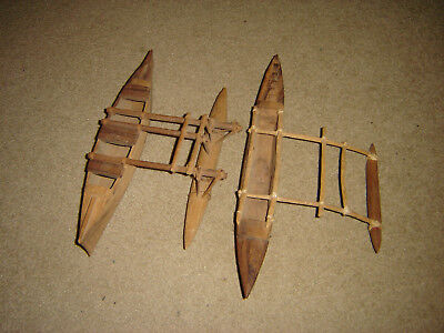 Antique Hand Carved Tribal Native Papua Papuan Indonesia Outrigger Canoe Models