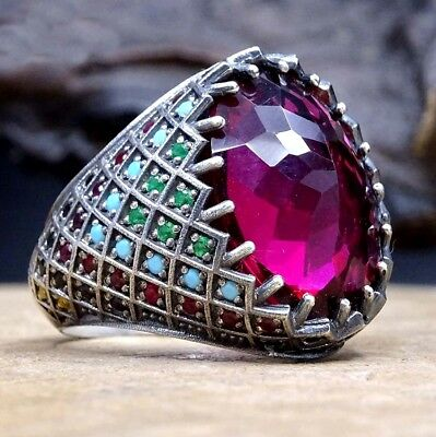 Turkish handmade 925 Sterling Silver Original Ruby Red Stone Mens Ring ALL size
