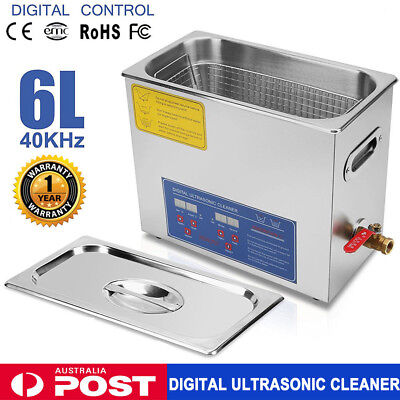 6L Industry Stainless Steel Digital Ultrasonic Cleaner Cleaning Timer Heater AU