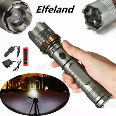 Tactical 90000LM T6 Military LED Flashlight Torch Zoomable 18650 Battery Charger