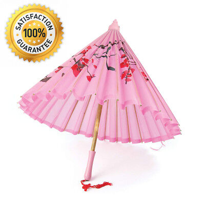 Bristol Novelty BA794 Parasol Pink Silk with Wooden Handle, One Size