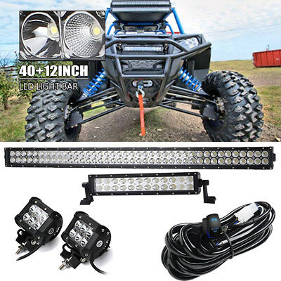 "40""+12'' LED LIGHT BAR + 2x 4"" Cube Pods + Wiring Fit Honda Pioneer 1000 700"