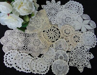 Job Lot Vintage Selection Of 22 Hand Crocheted Small Doilies 25-6 Cm All Perfect
