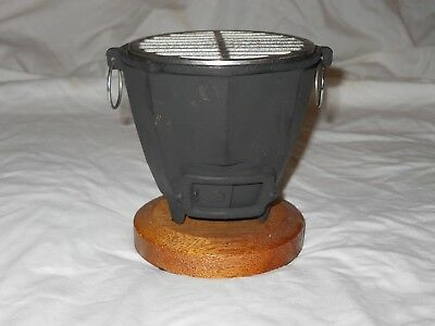 Vintage Japanese Cast Iron Mini Hibachi Charcoal BBQ Grill