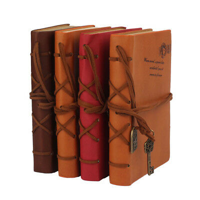 80/160Page Classic Vintage Leather Blank Pages Journal School Diary Notebook Hot