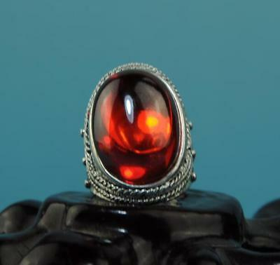 Collect Chinese hand-made silver inlay zircon ring a02