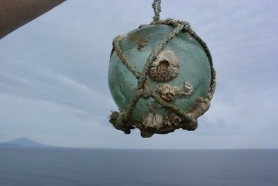 JAPANESE FISHING GLASS FLOAT with BARNACLES