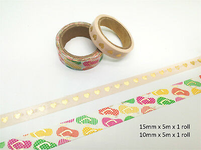 Washi Tape 2 Rolls Pink Balloon Cup Cakes and Slippers with Gold heart
