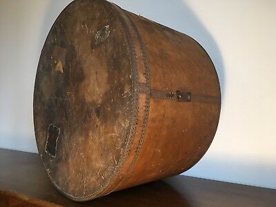 Vintage Very Large wooden hat box with metal rims Edwardian Victorian 56 X 35 Cm